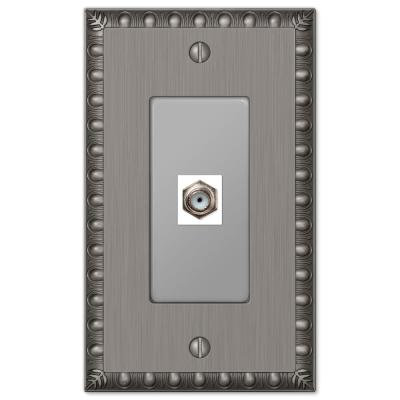 Antiquity 1 Gang Coax Metal Wall Plate - Antique Nickel