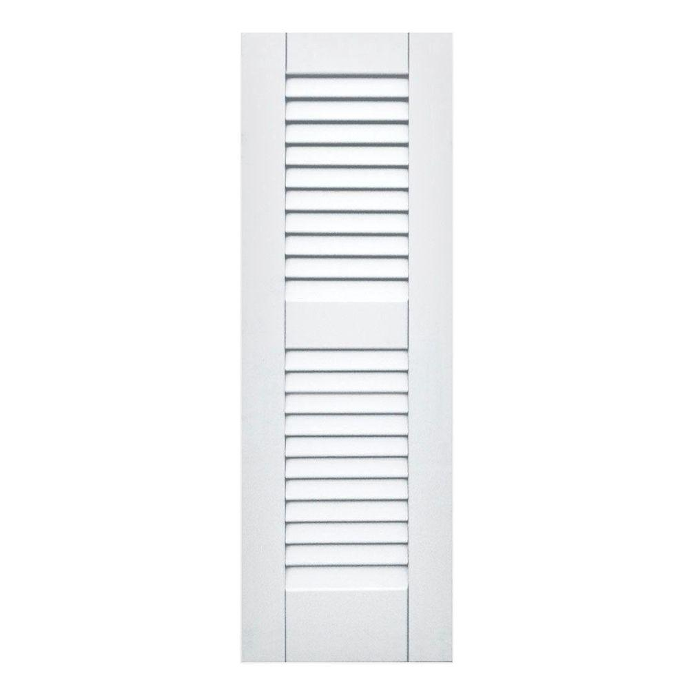Winworks Wood Composite 12 in. x 36 in. Louvered Shutters Pair #631 White