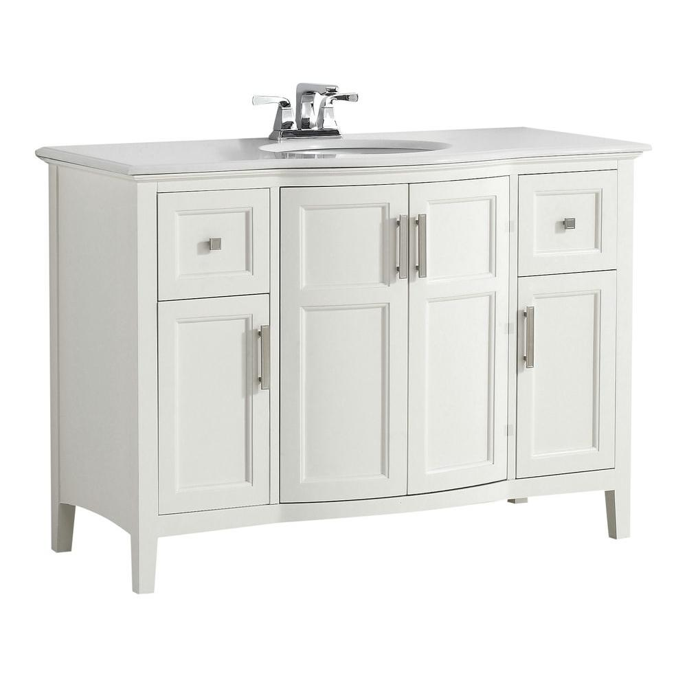 Simpli Home Winston 48 In. W Vanity In Off White With Quartz Marble Vanity  Top