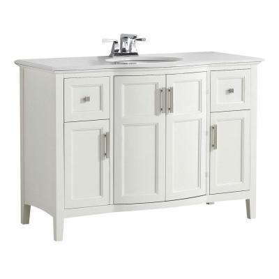 Winston 48 in. W Vanity in Soft White with Quartz Marble Vanity Top in White