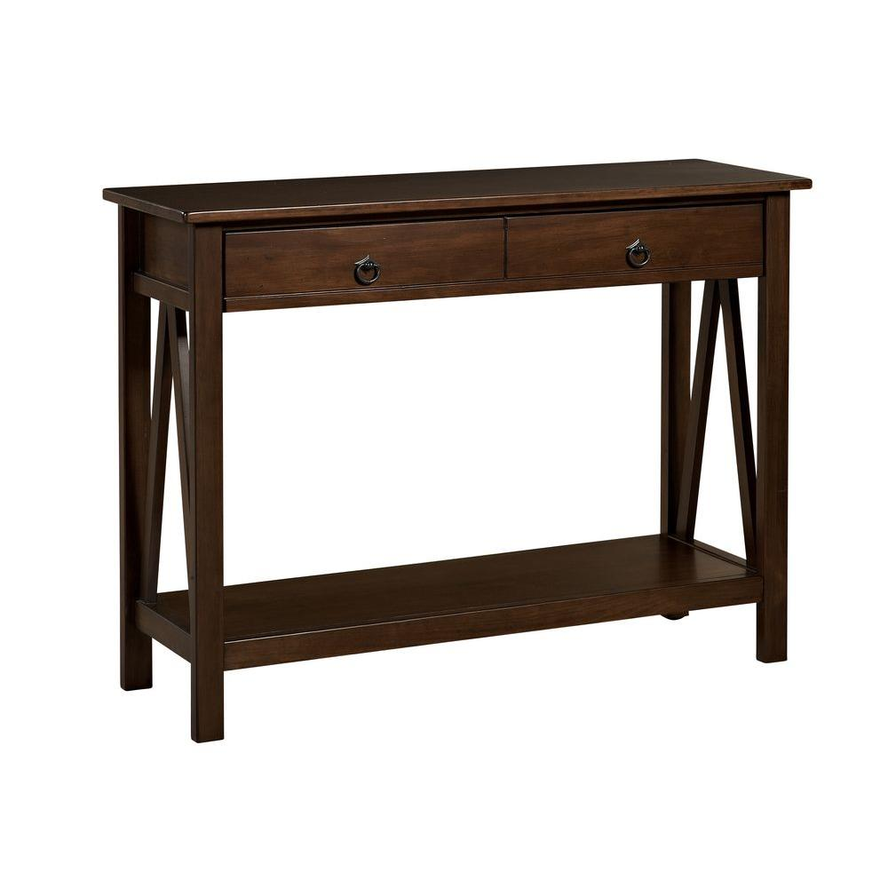 Superbe Linon Home Decor Titian Pine And Painted MDF Antique Tobacco Console Table
