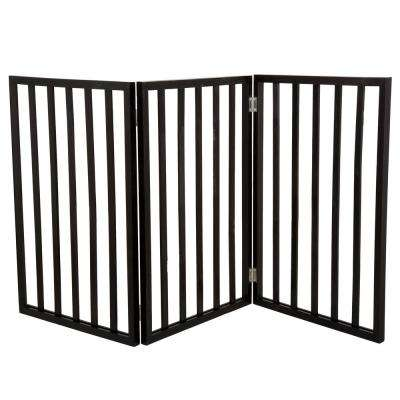 24 in. x 54 in. Wooden Freestanding Dark Brown Pet Gate
