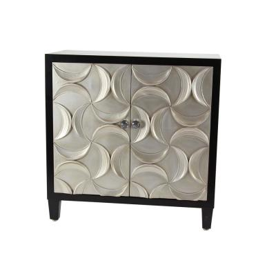 Black Rectangular Wooden 2-Door Cabinet with Crescent Moon-Shape Patterned Doors