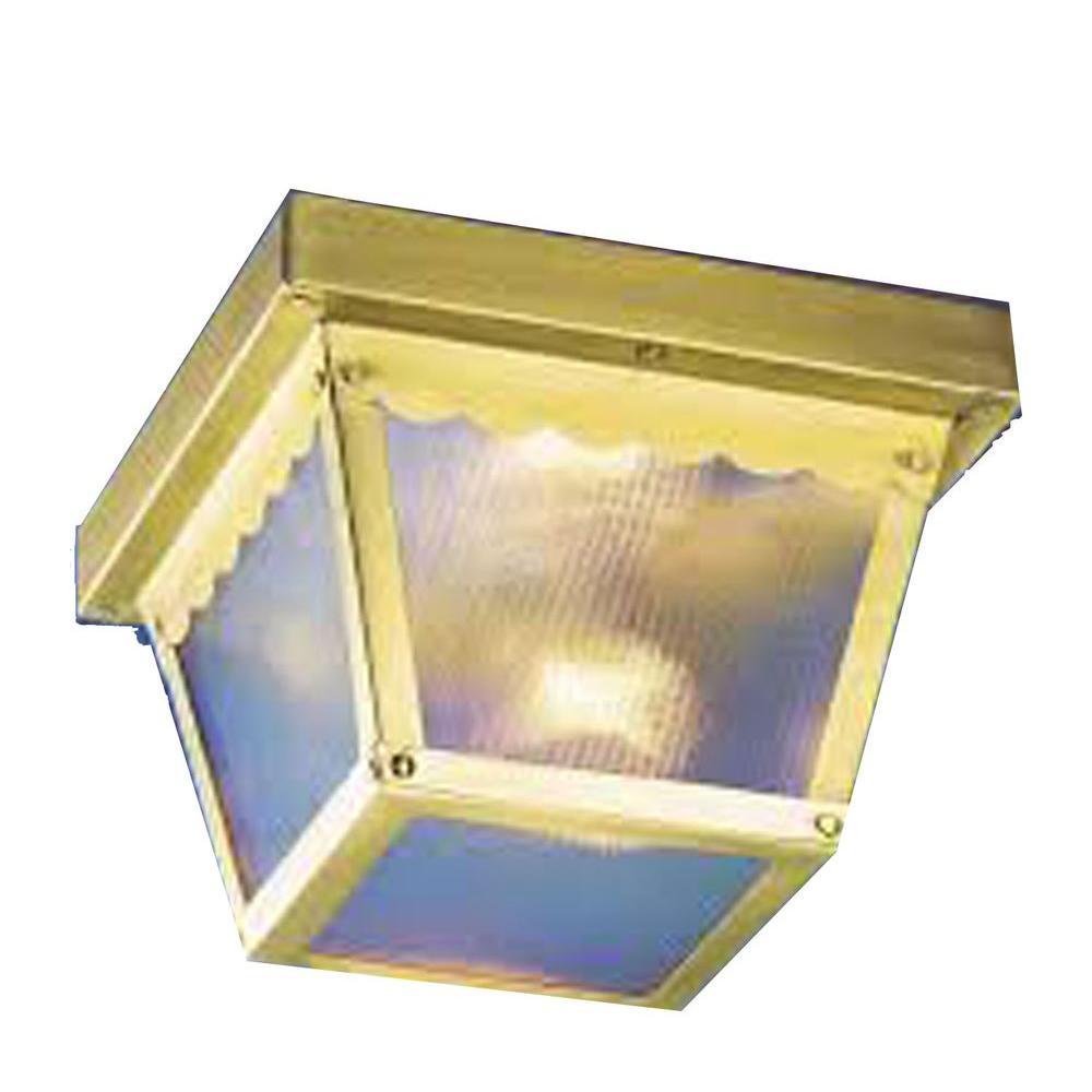 Lenor 1-Light Polish Brass Fluorescent Ceiling Semi-Flush Mount Light