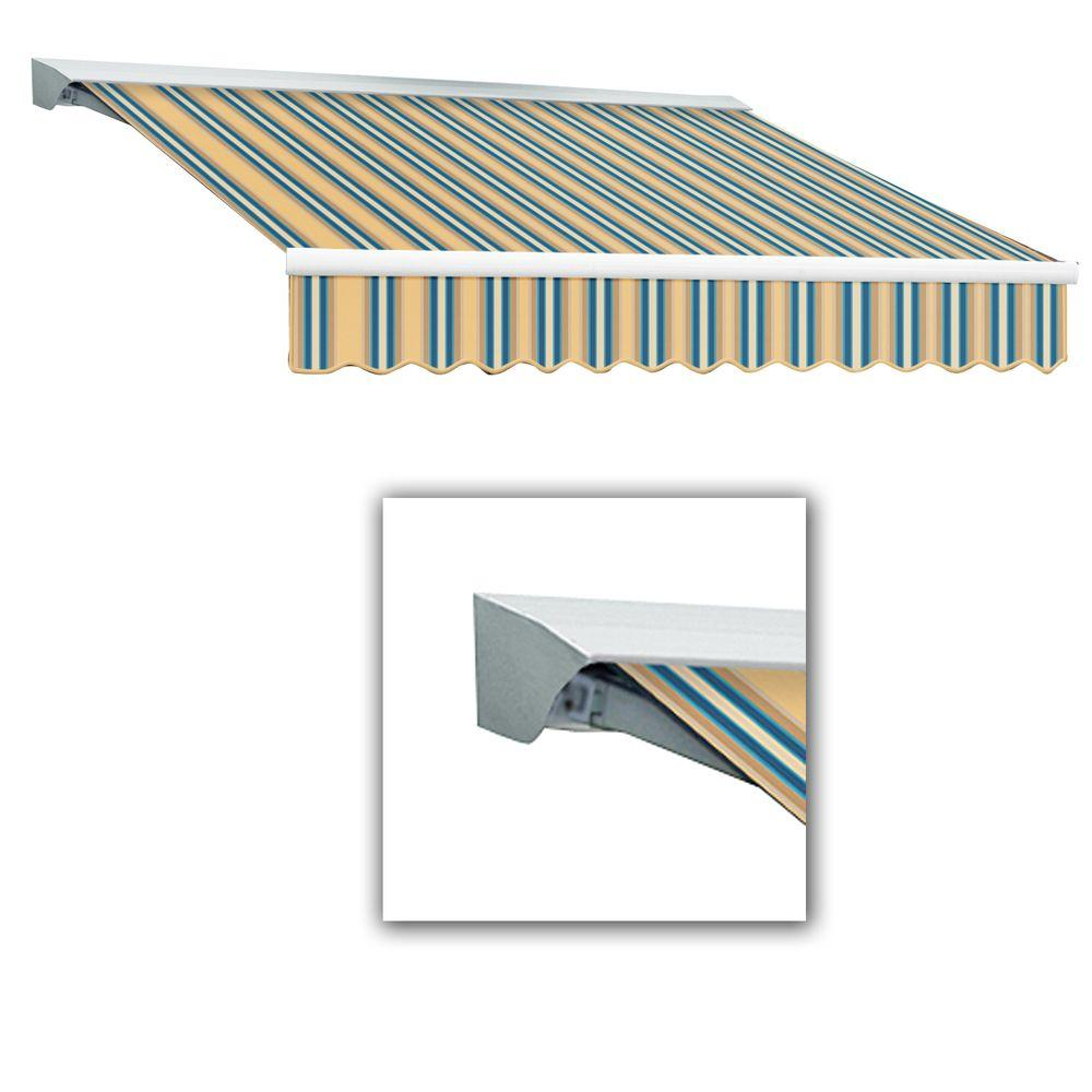 AWNTECH 8 ft. Destin-LX Manual Retractable Acrylic Awning with Hood (84 in. Projection) in Tan/Teal