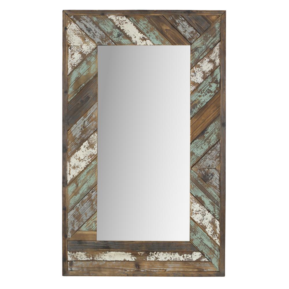 Brogan Distressed Wood Slat Wall Mirror