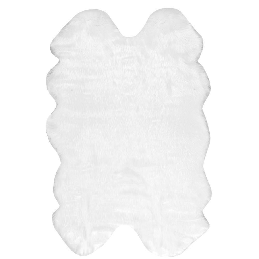 Quarto Tianna Faux Sheepskin Shag White 4 ft. x 6 ft.  Area Rug