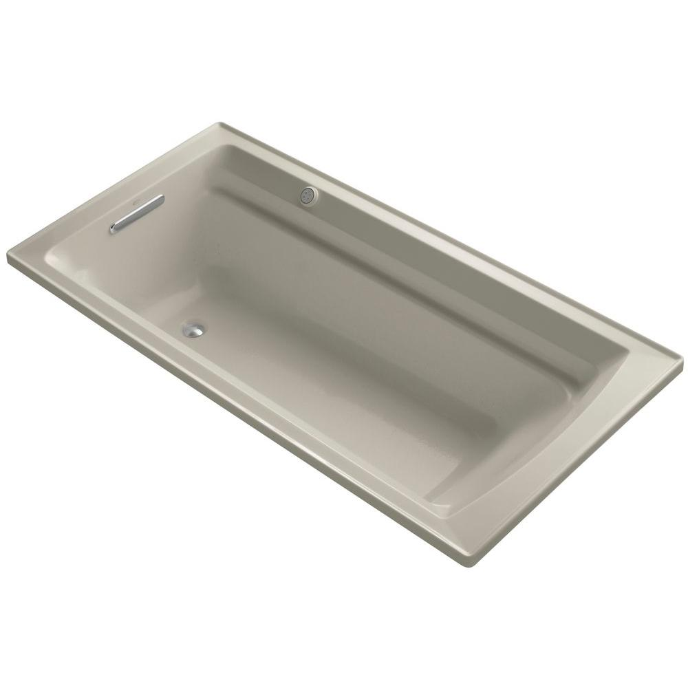 KOHLER Archer 6 ft. Acrylic Rectangular Drop-in Whirlpool Bathtub in Sandbar