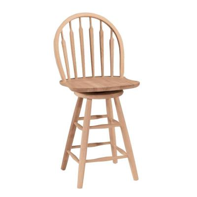 24 in. Unfinished Wood Swivel Bar Stool