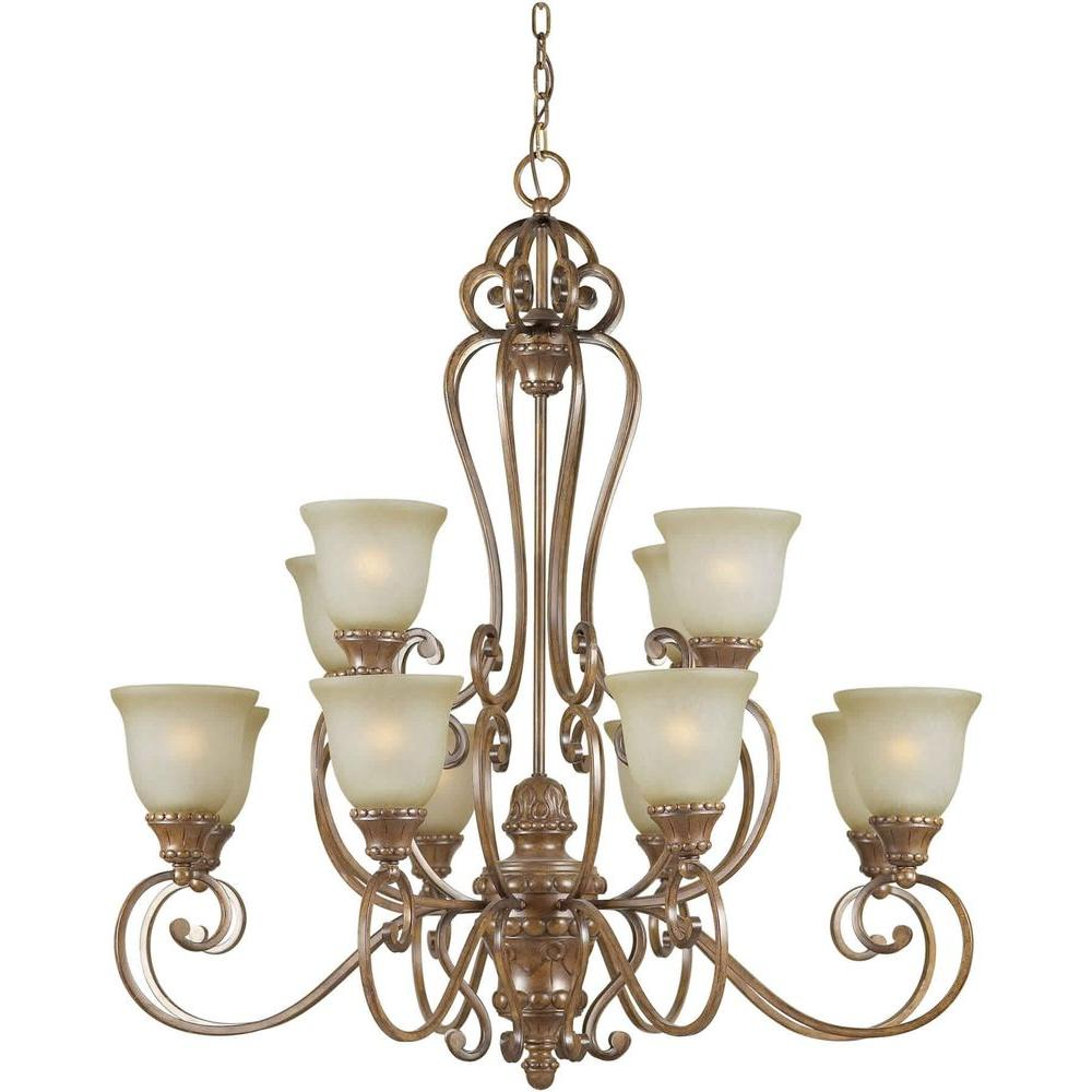 Talista 12-Light Rustic Sienna Chandelier with Umber Mist Glass Shade