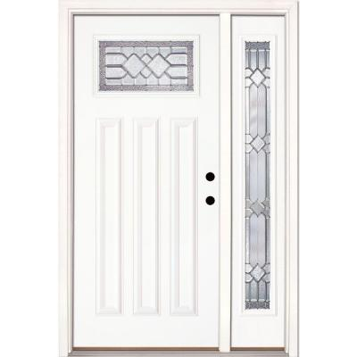 50.5 in.x81.625in.Mission Pointe Zinc Craftsman Lt Unfinished Smooth Left-Hand Fiberglass Prehung Front Door w/ Sidelite
