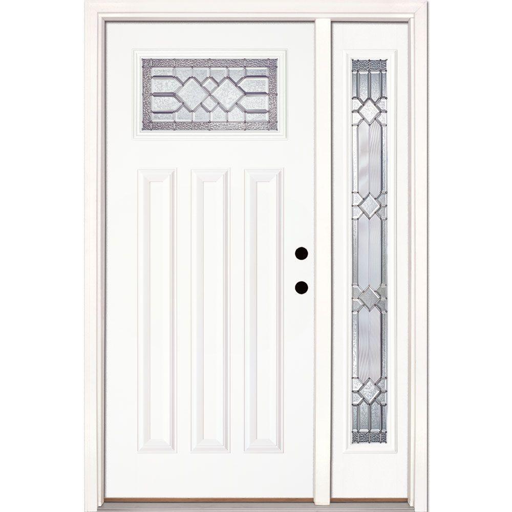 50.5 in.x81.625in.Mission Pointe Zinc Craftsman Lt Unfinished Smooth Left-Hand Fiberglass Prehung Front Door w/ Sidelite