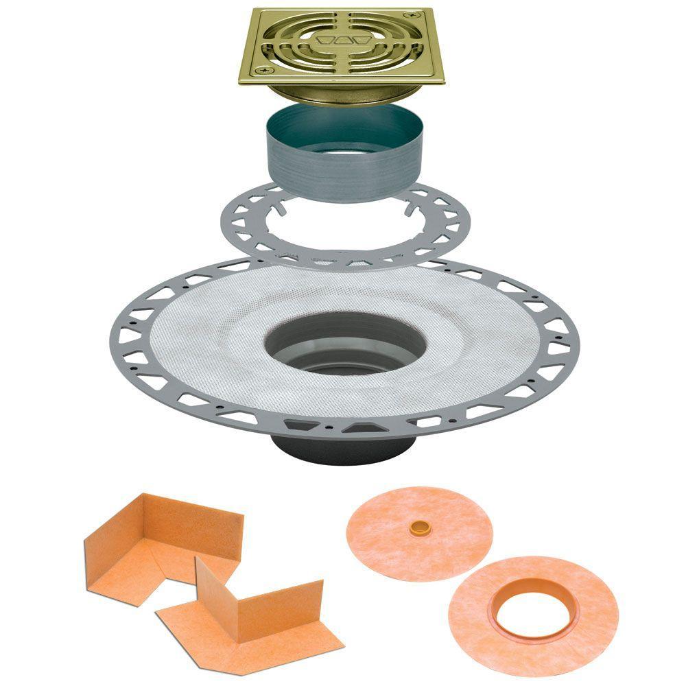 Kerdi-Drain 4 in. x 4 in. PVC Drain Kit in Brushed Brass Anodized Aluminum