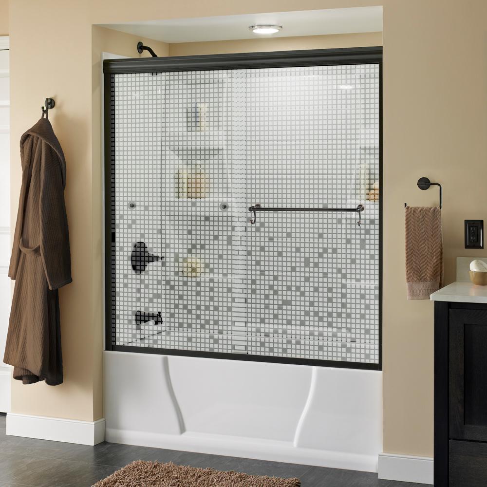 Portman 60 in. x 58-1/8 in. Semi-Frameless Sliding Bathtub Door in Bronze with Mozaic Glass