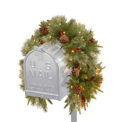 36 in. Colonial Mailbox Swag with Battery Operated Warm White LED Lights