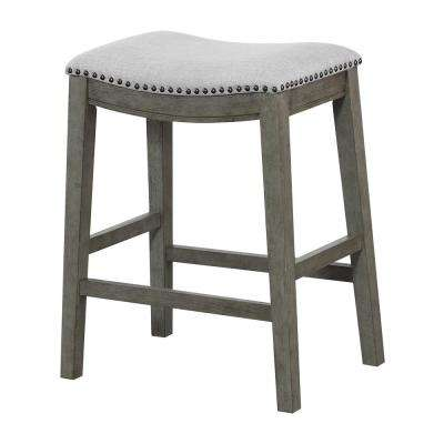 Saddle Stool 24 in. Grey Fabric and Antique Grey Base and Antique Bronze Nailheads (2-Pack)