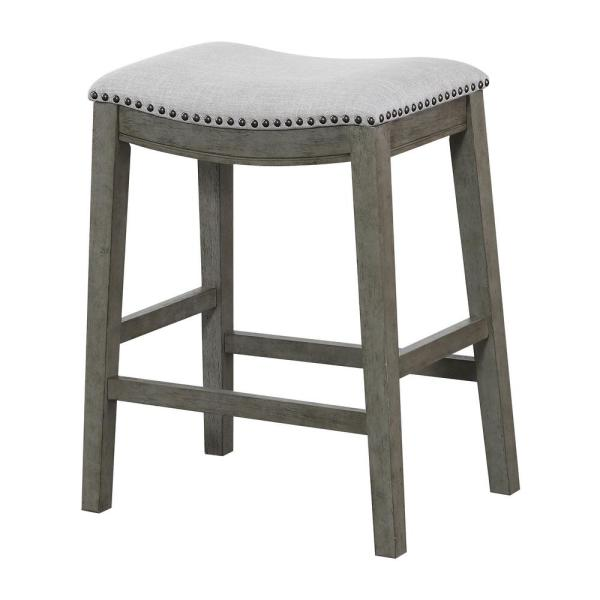 OSP Home Furnishings Saddle Stool 24 in. Grey Fabric and Antique