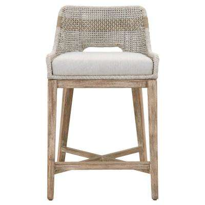 Tapestry 26 in. Taupe and White Flat Rope, Natural Gray Mahogany Counter Stool