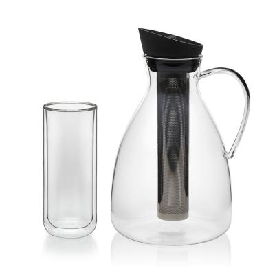Infusion 5-Piece Glass Iced Tea Carafe and Classic Double Walled Tall Drinkware Set