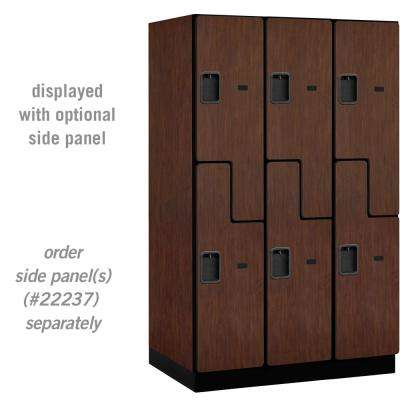 """27000 Series Double-Tier """"S"""" Style 24 in. D 6-Compartments Extra Wide Designer Particle Board Locker in Mahogany"""