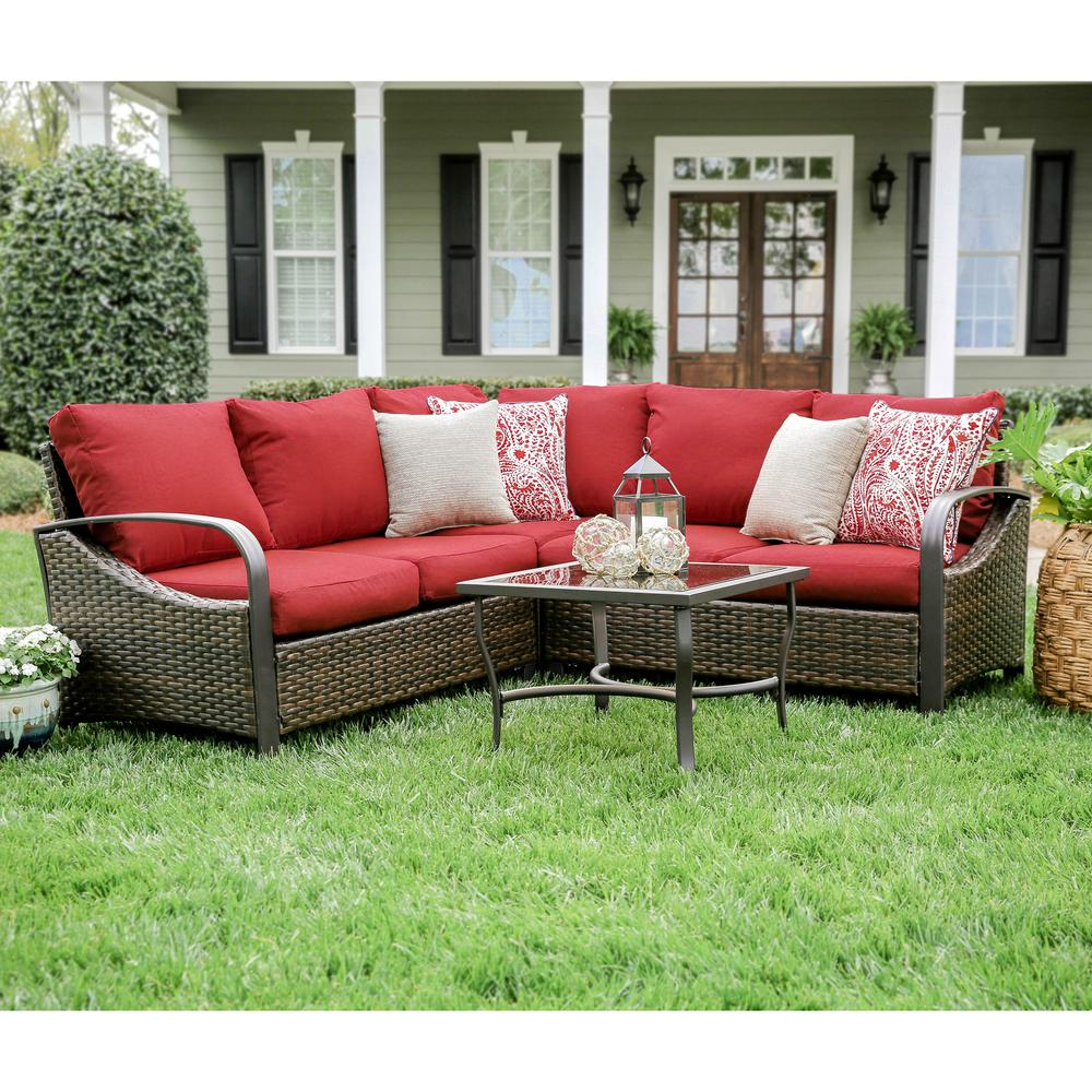 Ton 4 Piece Wicker Outdoor Sectional Set With Red Cushions
