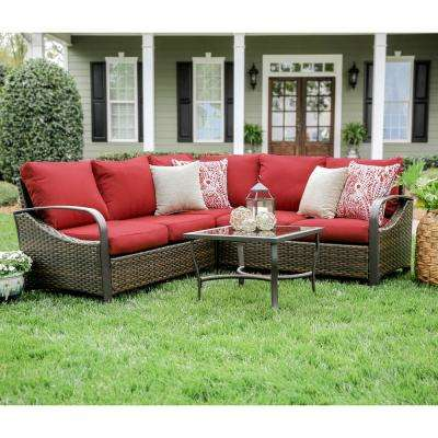 Trenton 4-Piece Wicker Outdoor Sectional Set with Red Cushions