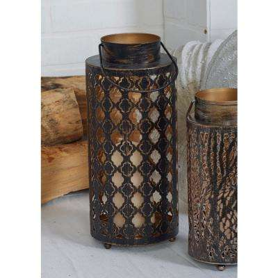 18 in. Rustic Brown Quatrefoil and Forest Candle Lanterns (Set of 2)