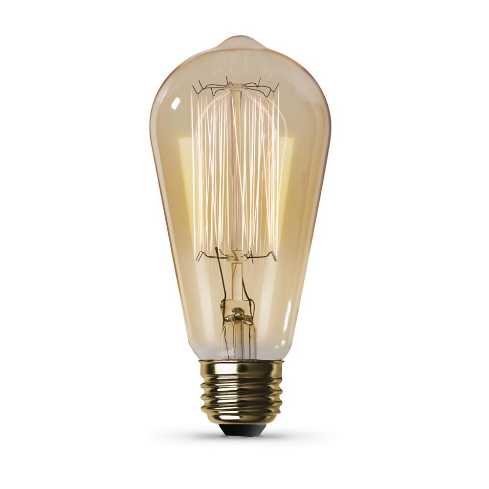 Feit Electric 60-Watt ST19 Dimmable Incandescent Amber Glass Vintage Edison Light Bulb with Cage Filament Soft White (6-Pack)
