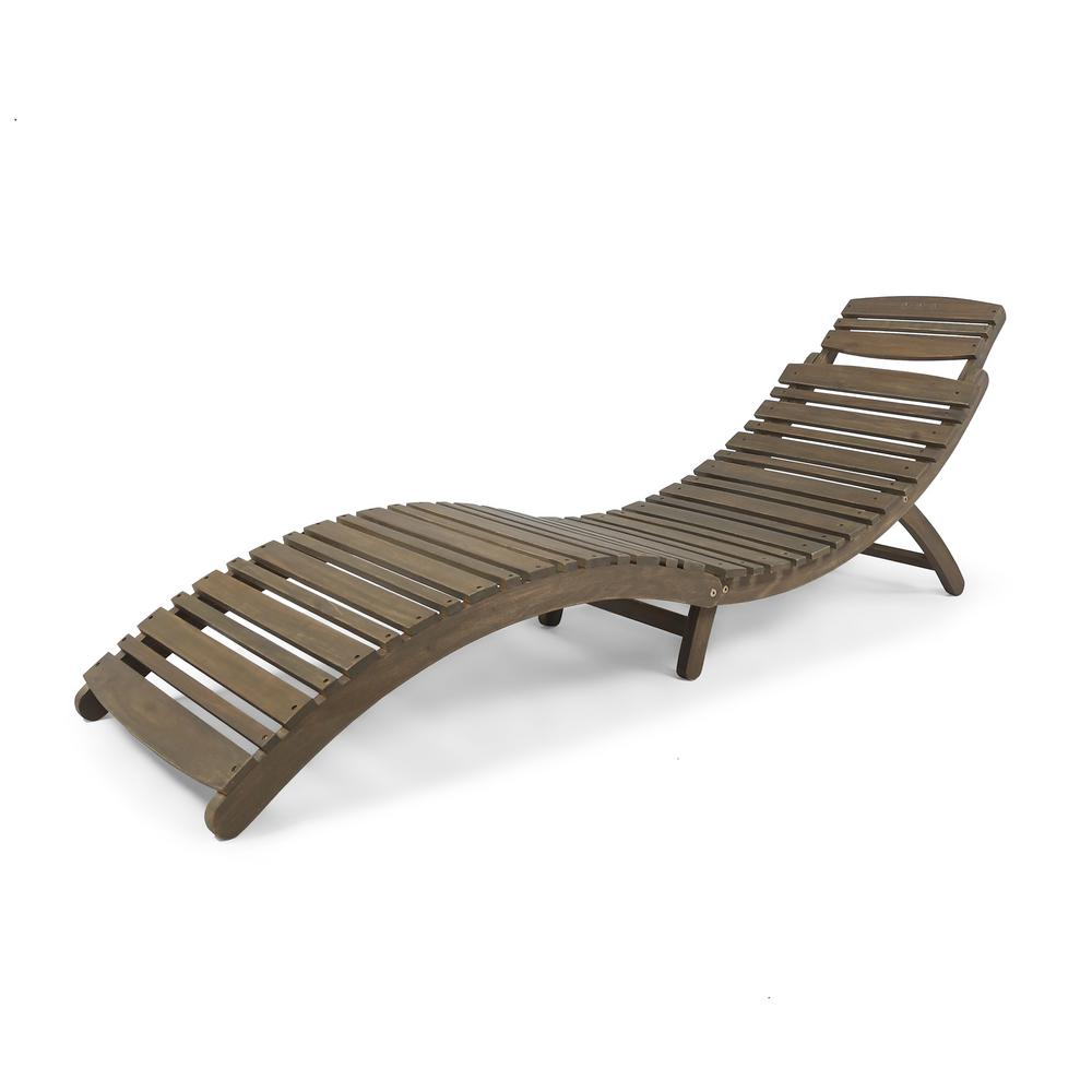 Noble House Gray Wood Wicker Outdoor Chaise Lounge