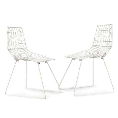 Aspen Metal Dining Chair in White (Set of 2)
