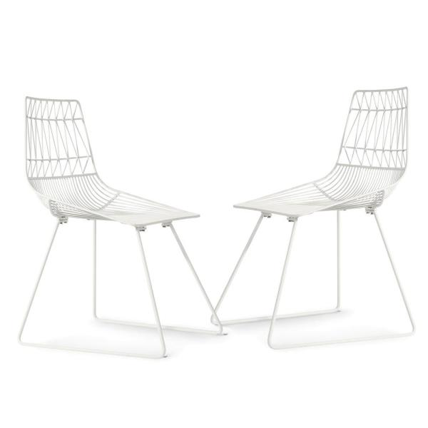 Poly and Bark Aspen Metal Dining Chair in White (Set of 2)
