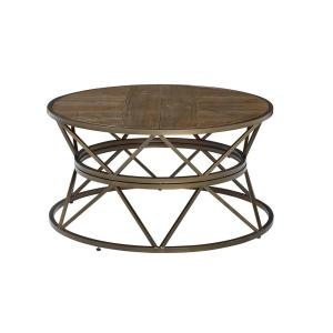 SoHo 34 in. Gold/Natural Medium Round Wood Coffee Table