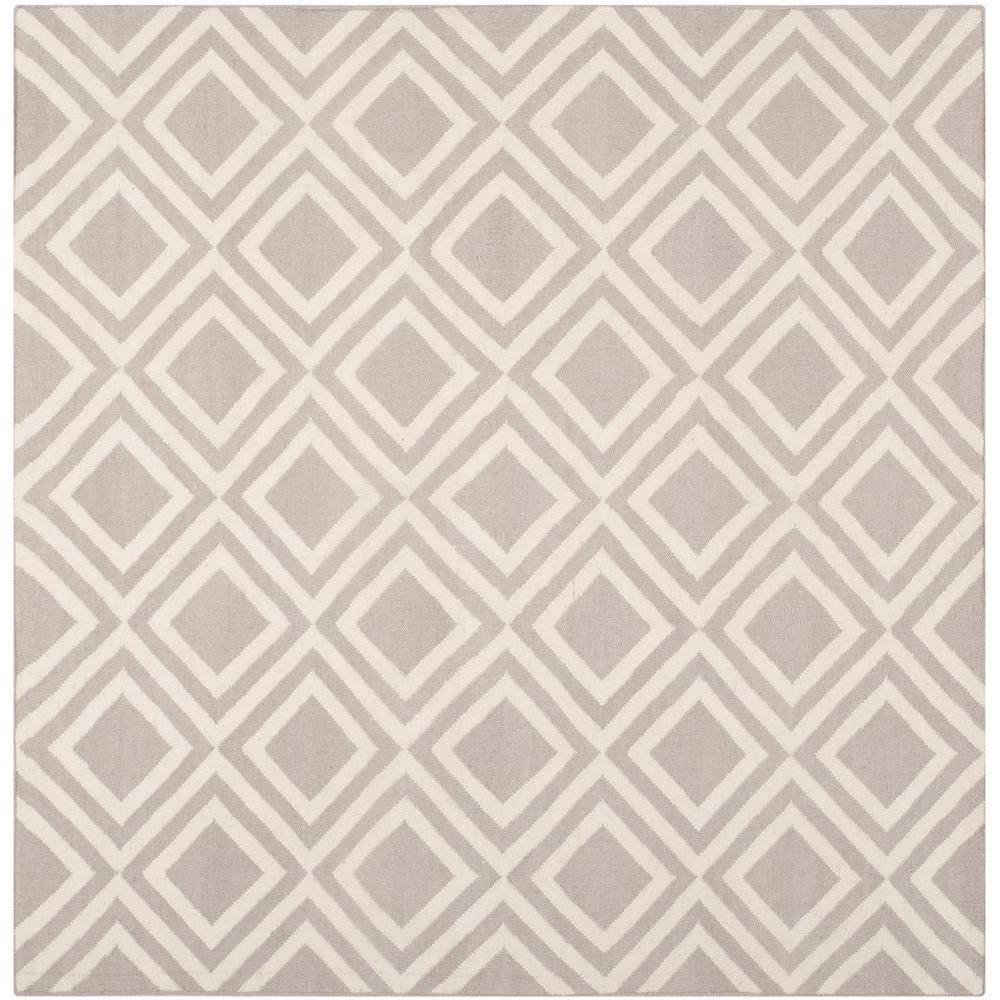 Safavieh Dhurries Grey/Ivory 6 ft. x 6 ft. Square Area Rug