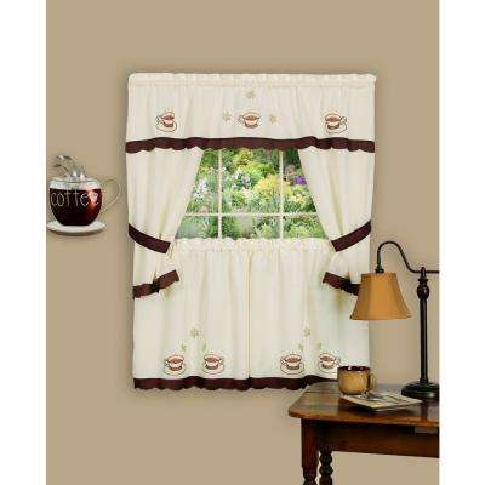 Sheer Cuppa Joe 24 in. L Embellished Cottage Window Curtain Set in Brown