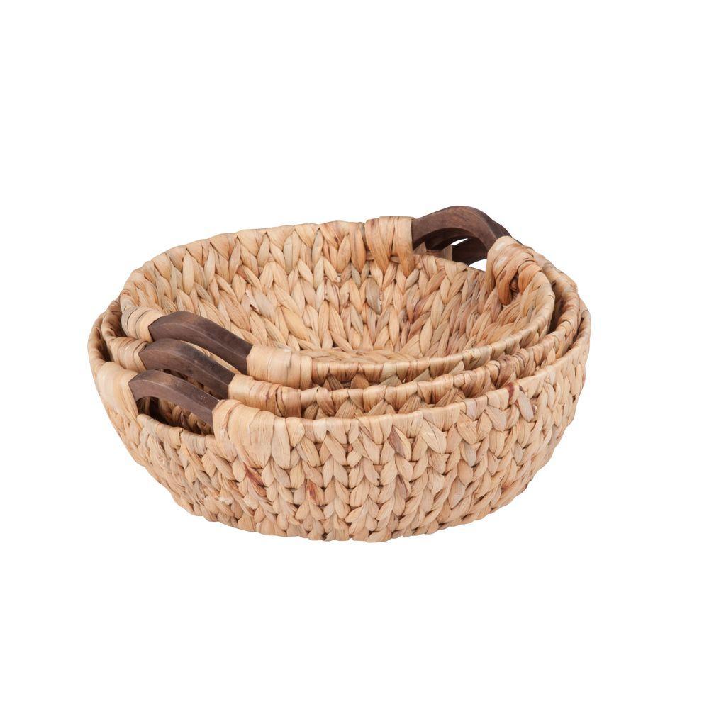 Round Water Hyacinth Basket Set with Wood Handles (3-Piece)