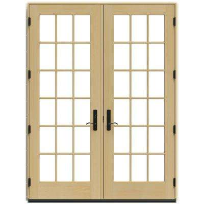 71.25 in. x 95.5 in. W-4500 Chestnut Bronze Right Hand Inswing French Wood Patio Door