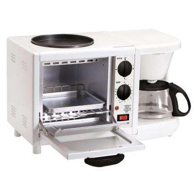 White Americana 4-Cup 3-in-1 Coffee Maker with Toaster Oven