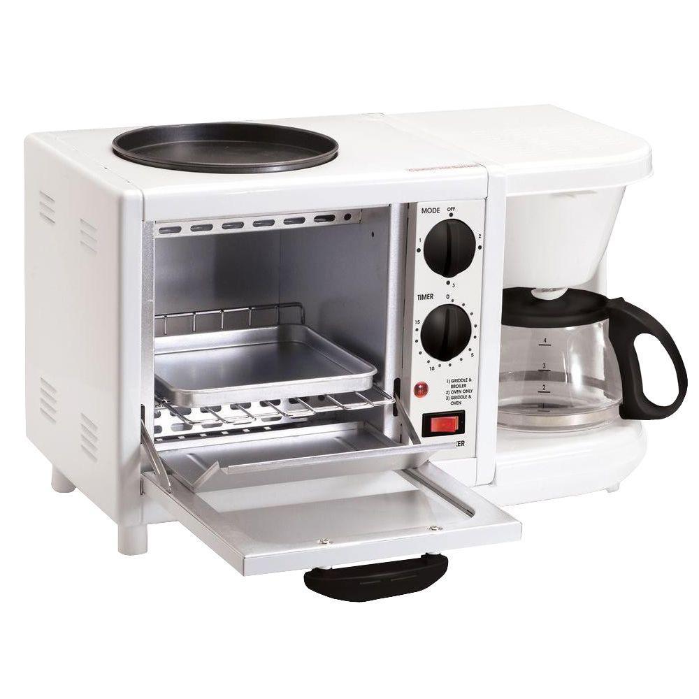 Elite Cuisine Breakfast Station 500 W 4-Slice White Toaster Oven and