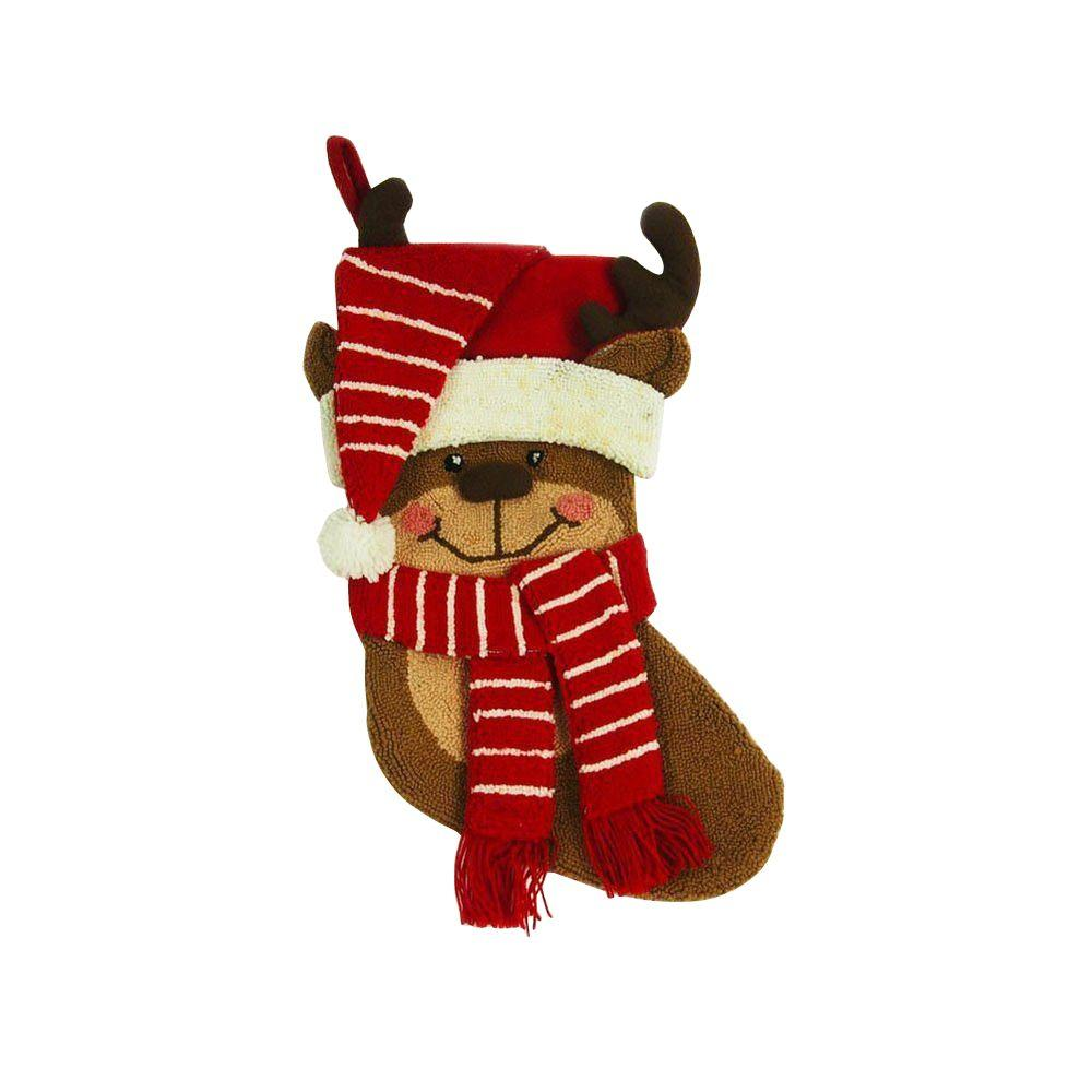 polyesteracrylic hooked 3d reindeer christmas stocking