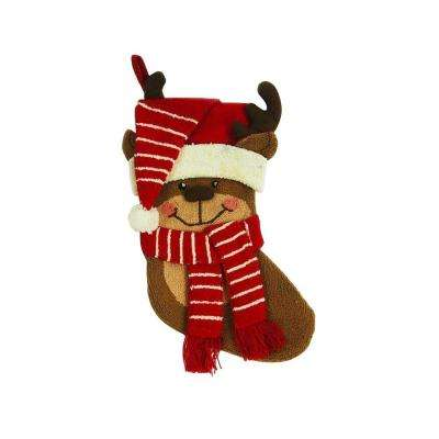 19 in. Polyester/Acrylic Hooked 3D Reindeer Christmas Stocking