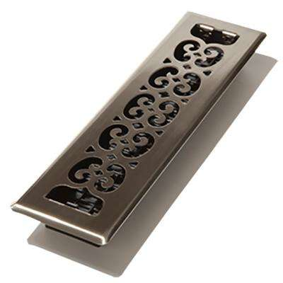 2 in. x 10 in. Brushed Nickel Steel Plated Scroll Floor Register