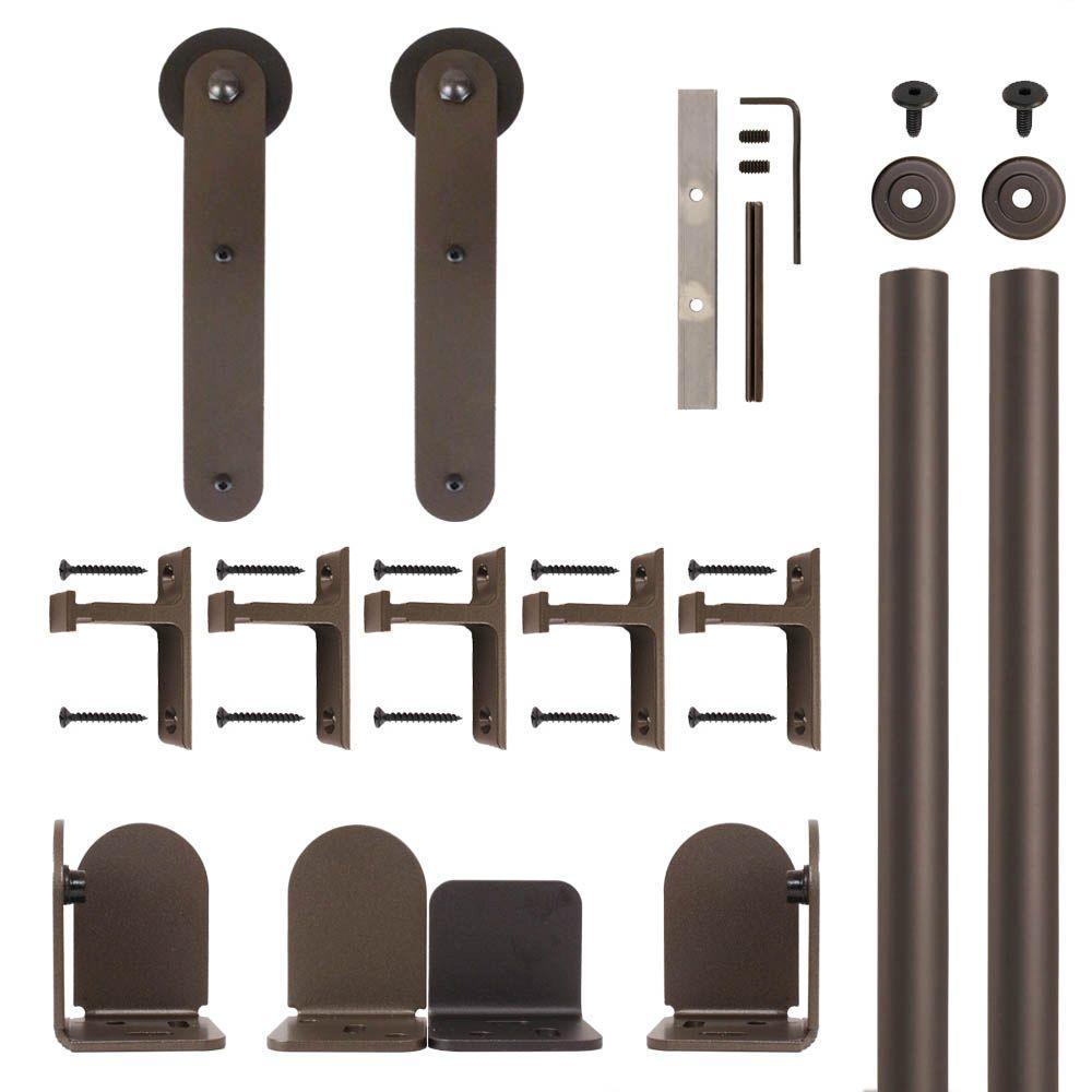 Stick Oil Rubbed Bronze Rolling Door Hardware Kit for 1-1/2 in. to 2-1/4 in. Door