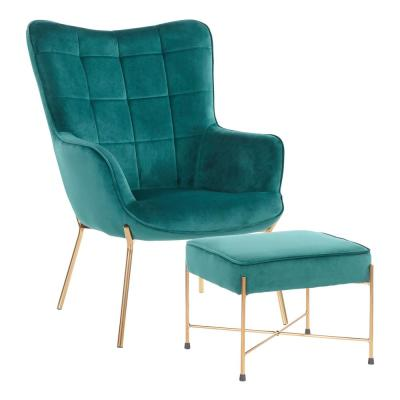 Izzy Gold Lounge Chair with Ottoman in Green Velvet