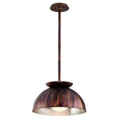 Library 1-Light Copper Patina Exterior with Silver Leaf Interior Pendant