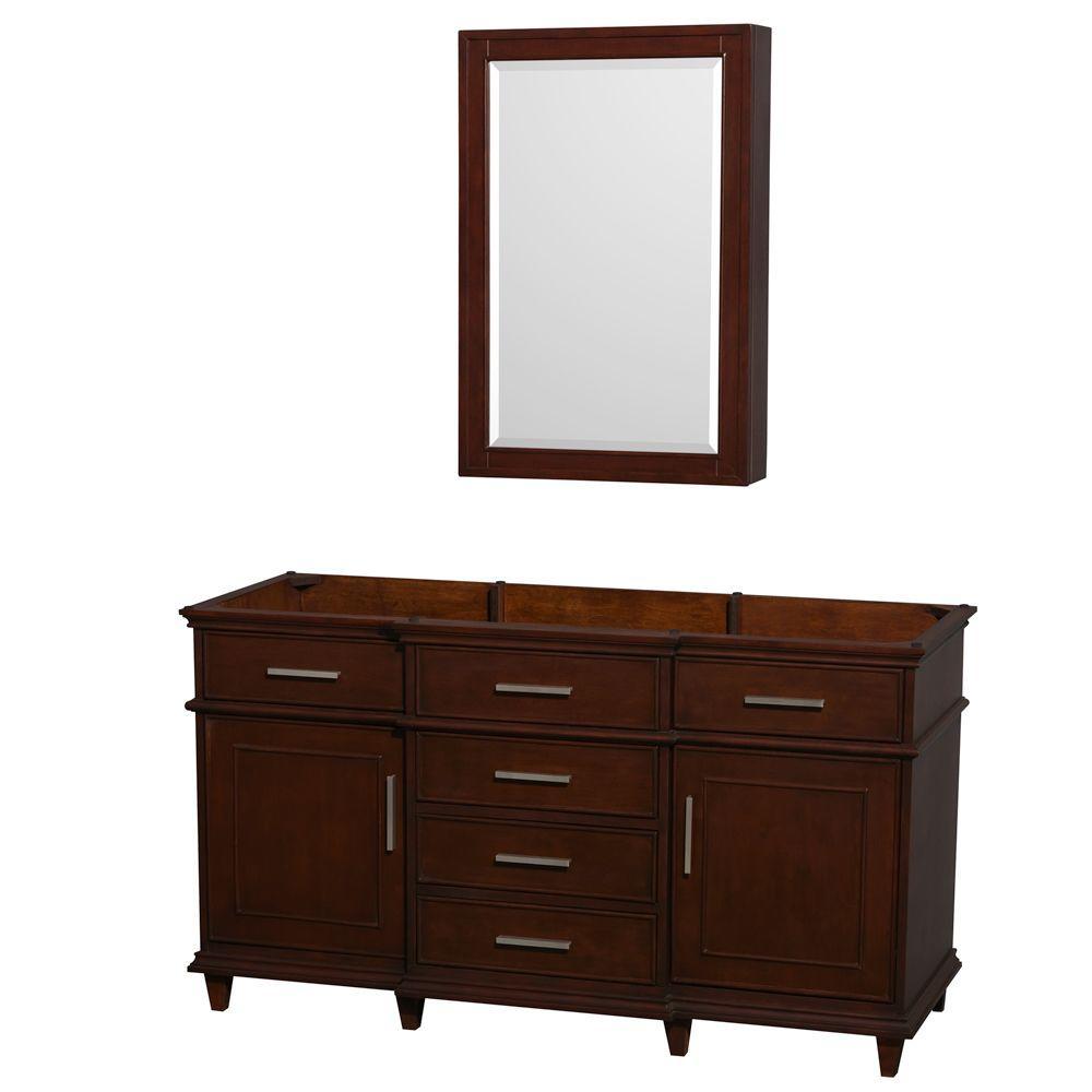 Superbe Wyndham Collection Berkeley 60 In. Vanity With Medicine Cabinet In Dark  Chestnut