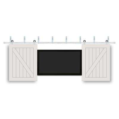 32 in. x 42 in. TV One Panel V-Groove Prefinished White Wood Interior Barn Door with Stainless Sliding Door Hardware
