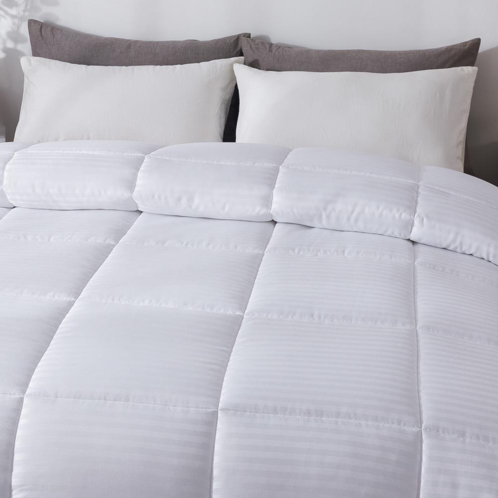 Dobby Stripe White Full/Queen Down Alternative Comforter