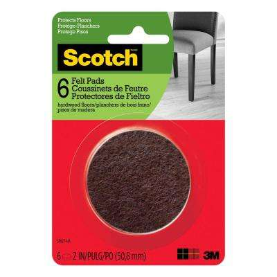 2 in. Brown Round Surface Protection Felt Floor Pads ((6-Pack)(Case of 24))