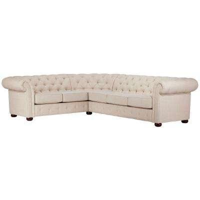 Radcliffe 3-Piece Oatmeal Linen Sectional