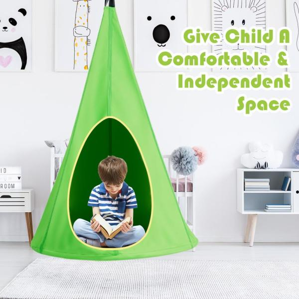 Costway 40 In Portable Kids Nest Hammock Swing Chair Hanging Seat In Green Op70140gn The Home Depot